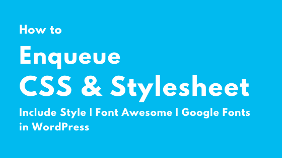 How to Enqueue CSS, Font-Awesome, Google Fonts in WordPress
