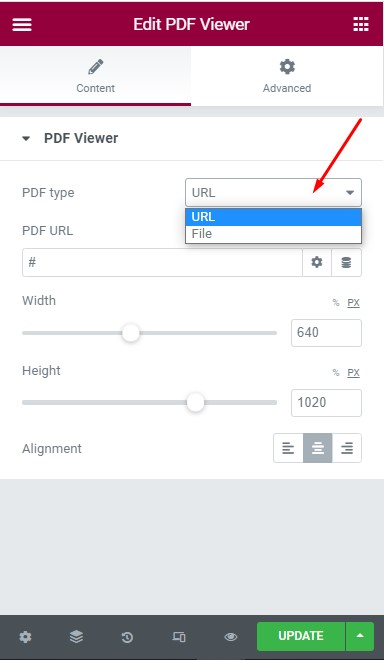 Select PDF Type to Embed